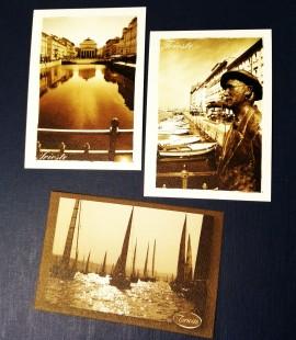 Cartoline Trieste moderna color seppia